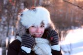 image of ruddy-faced  - A portrait of young woman in winter outwear - JPG