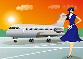 pic of air hostess  - Stewardess or air hostess with airplane - JPG