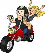 Illustration of a Man Riding a Customized Motorcycle with a Female Passenger at the Back