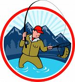 pic of fly rod  - Illustration of a fly fisherman with fly rod and reel reeling and netting up a trout fish set inside circle with lake trees and mountain in background done in cartoon style - JPG