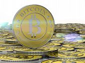 stock photo of bit coin  - one or more bitcoins - JPG