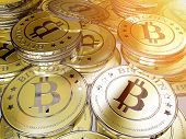 stock photo of coin bank  - one or more bitcoins - JPG