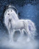 stock photo of hollow  - Fantasy scene with a white unicorn in the evening forest - JPG