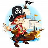 image of pirate sword  - An Illustration Of Pirate Kid Holding Sword And Smiling With Background Of Big War Ship - JPG