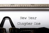 stock photo of typewriter  - New year chapter one - JPG