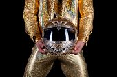image of stripper  - Portrait of male stripper holds helmet - JPG