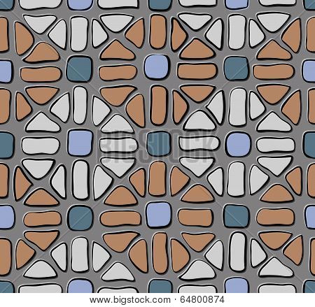 Tile Mosaic Grey Blue Red