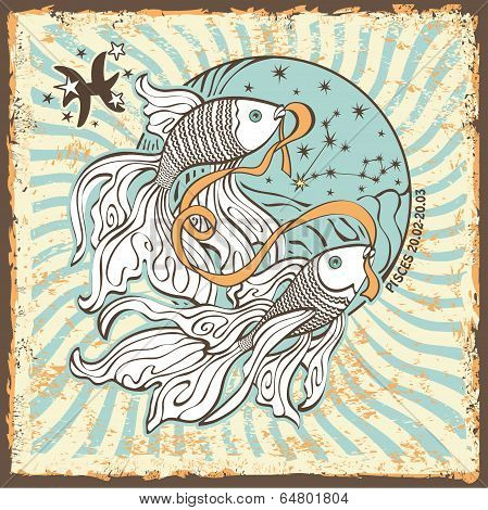 Pisces Zodiac Sign.vintage Horoscope Card