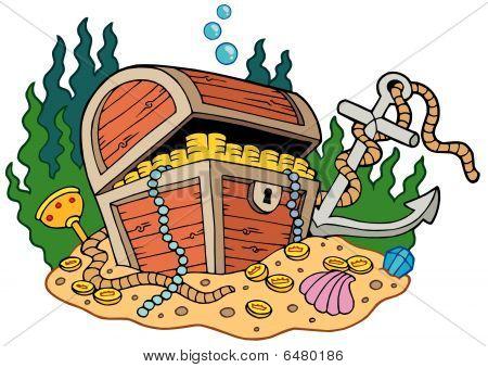 Treasure chest on sea bottom
