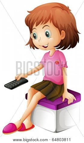 Illustration of a girl holding a remote control on a white background