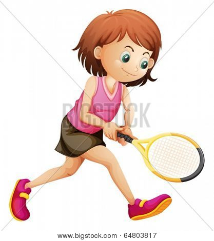 Illustration of a cute little girl playing tennis on a white background