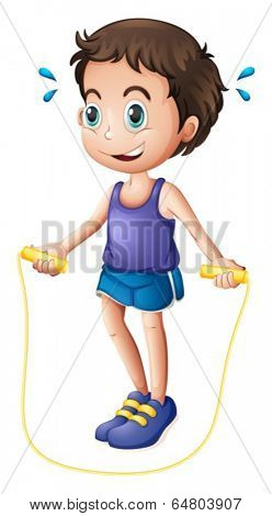 Illustration of a young man playing with the skipping rope on a white background