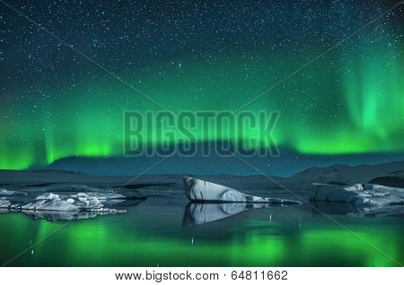 Icebergs under the Northern Lights poster