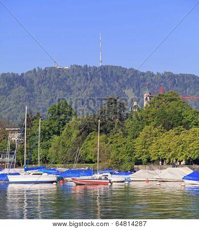 Lake Zurich And Mt. Uetliberg