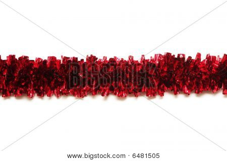 Red Tinsel Isolated On White Background With Place For Text