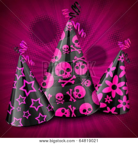 Goth Party Hats On Pink