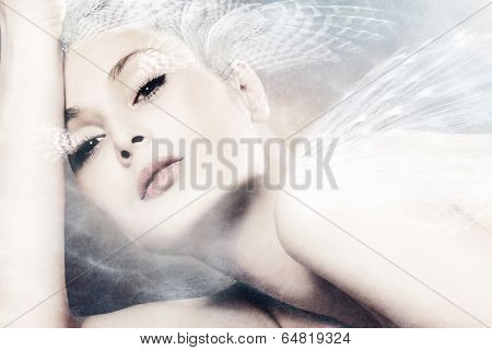 beautiful fantasy woman portrait composite photo
