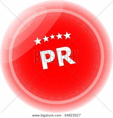 Pr Word On Red Stickers, Icon Button