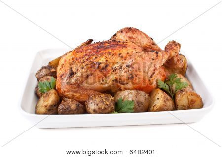 Pollo asado dorado