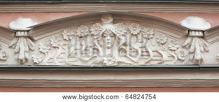 Detail Of Pediment Building In Art Nouveau Style