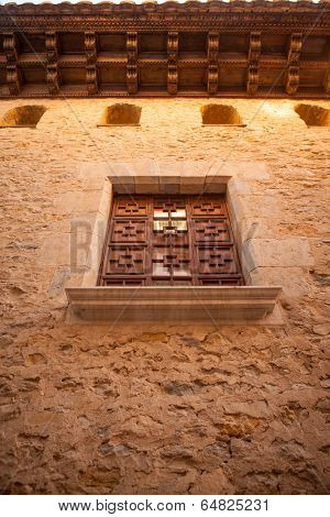 Morella in Maestrazgo castellon village facades at Spain