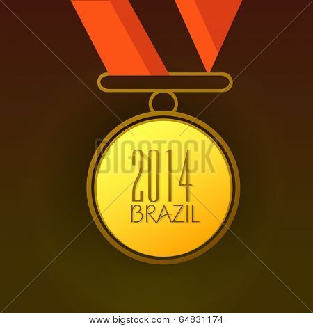 Gold medal with stylish text 2014 Brazil on brown background.