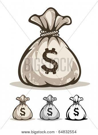Full sack with money dollars. Eps8 vector illustration. Isolated on white background