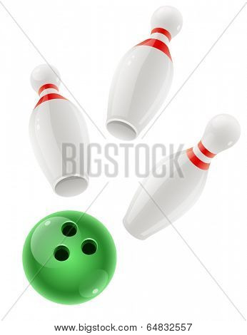 Skittles and ball for playing the bowling game. Eps10 vector illustration. Isolated on white background