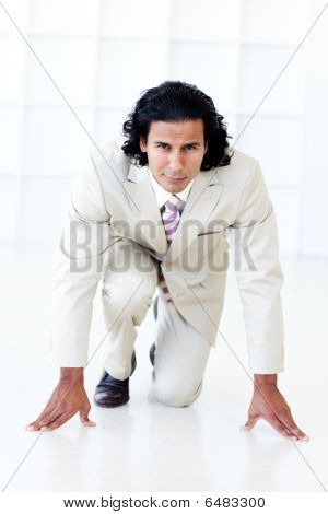 Businessman Getting Ready For A Race