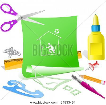 Home toilet. Paper template. Vector illustration.