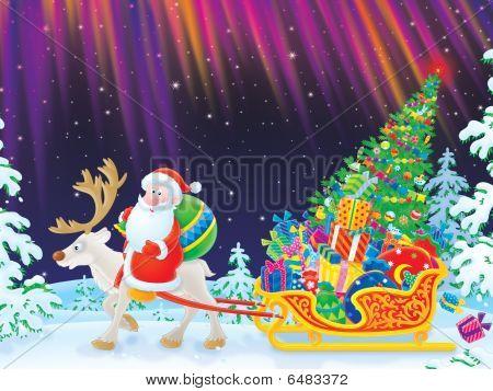 Santa rides on Reindeer dragging the sledge