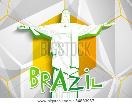 Stylish illustration of Rio De Jeneiro and text Brazil on grey background.