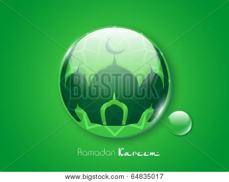 Glossy green icon with silhouette of mosque for holy month of muslim community Ramadan Kareem.