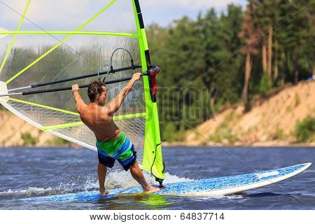 Rear View Of Young Windsurfer Close-up