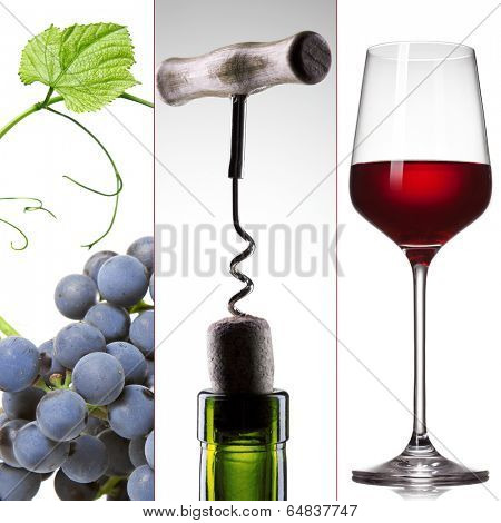 wine collage - grape, bottle with corkscrew and wineglass