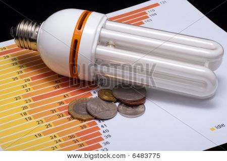 Fluorescent economical lamp with chart and money