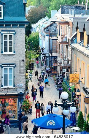 QUEBEC CITY, CANADA - SEP 10: Old street in the day on September 10, 2012 in Quebec City, Canada. As the capital of the Canadian province of Quebec, it is one of the oldest cities in North America.