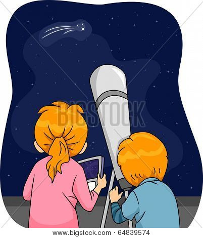 Illustration of Kids Using a Telescope to Observe a Comet