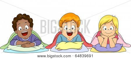 Illustration of Little Kids About to Take Their Nap in School