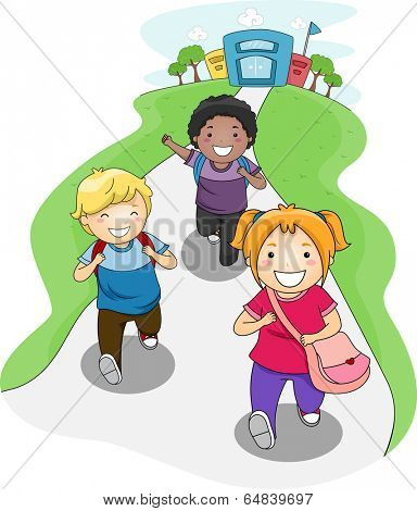 Illustration of Kids Going Home From School