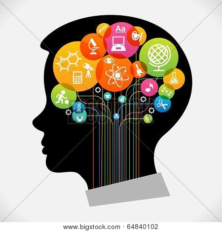 The concept of modern education.  Infographic Template with silhouette child head, abstract brain, science and education icons The generation of knowledge. File is saved in AI10 EPS version.