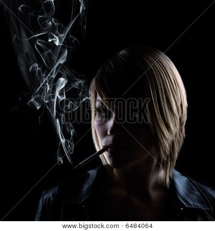 Smoking Woman On Black Background