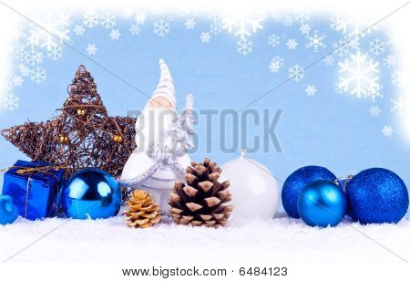 Blue Christmas Background With Santa Clause Figure