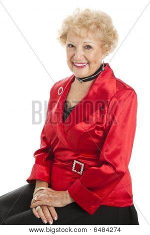 Senior Lady Dressed For Holidays