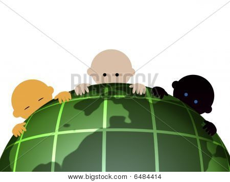 Internationality babies with globes