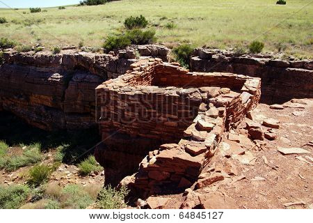 Ruins Of Houses Of The  Lomaki Pueblo