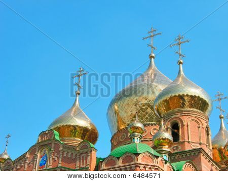Golden onion domes of St.Vladimir Cathedral