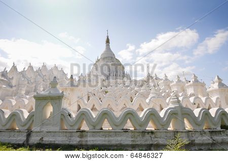 Sagaing, Myanmar - October 9, 2013 : White pagoda of Hsinbyume, Mingun, Mandalay