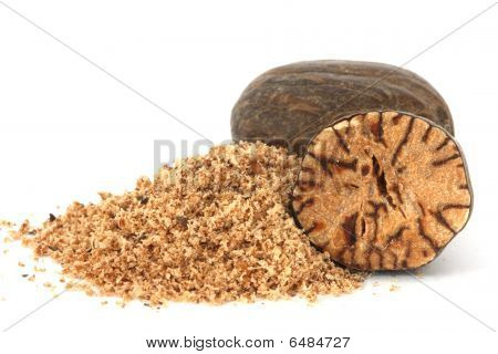 Whole And Grated Nutmeg Closeup