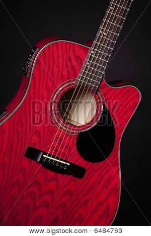Guitar Red Acoustic Isolated On Black